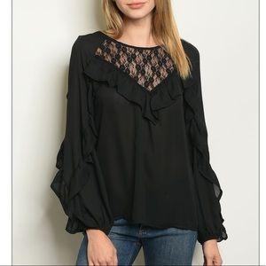 Black Long sleeve lace ruffled detail blouse